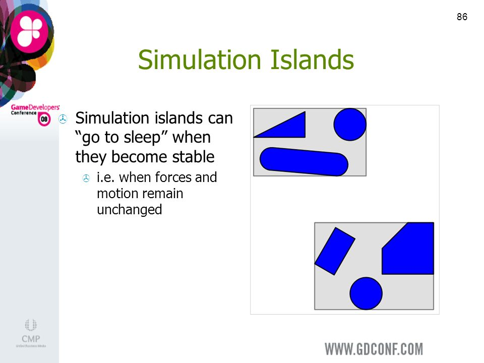 86 Simulation Islands Simulation islands can go to sleep when they become stable i.e.