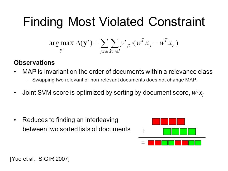 Finding Most Violated Constraint Observations MAP is invariant on the order of documents within a relevance class –Swapping two relevant or non-relevant documents does not change MAP.