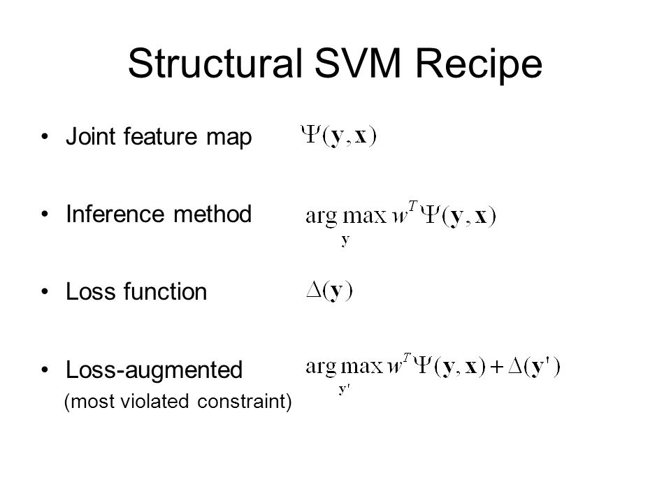 Structural SVM Recipe Joint feature map Inference method Loss function Loss-augmented (most violated constraint)