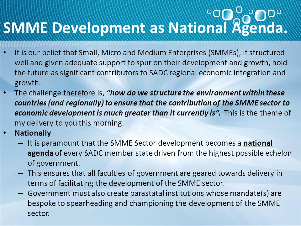 SMME Development as National Agenda.