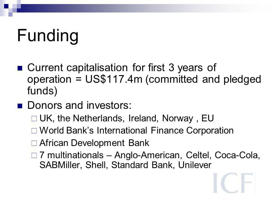 Funding Current capitalisation for first 3 years of operation = US$117.4m (committed and pledged funds) Donors and investors: UK, the Netherlands, Ireland, Norway, EU World Banks International Finance Corporation African Development Bank 7 multinationals – Anglo-American, Celtel, Coca-Cola, SABMiller, Shell, Standard Bank, Unilever