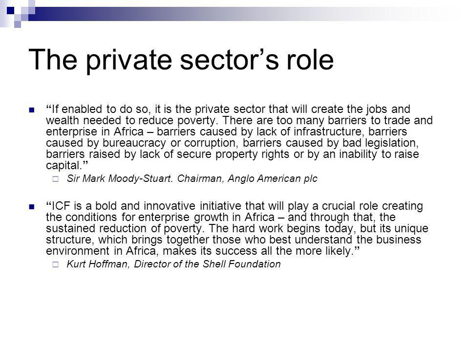 The private sectors role If enabled to do so, it is the private sector that will create the jobs and wealth needed to reduce poverty.