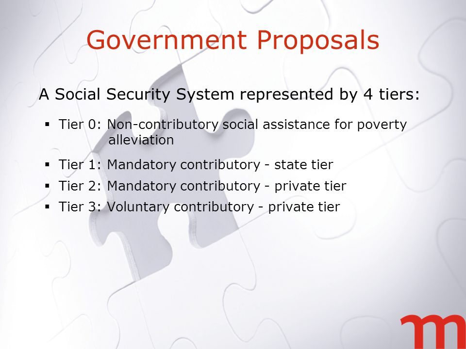 Government Proposals A Social Security System represented by 4 tiers: Tier 0: Non-contributory social assistance for poverty alleviation Tier 1: Mandatory contributory - state tier Tier 2: Mandatory contributory - private tier Tier 3: Voluntary contributory - private tier