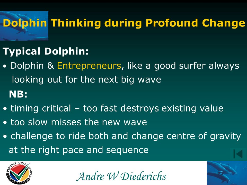 Andre W Andre W Diederichs Dolphin Thinking during Profound Change Typical Dolphin: Intuitively thinking of change – not waiting for it Entrepreneurs want change and create change Sensitive to fundamental shifts Entrepreneurs inquisitive nature smell change Begin disengagement & exploring new waves Entrepreneurs avoid sentiments clouding new opportunities