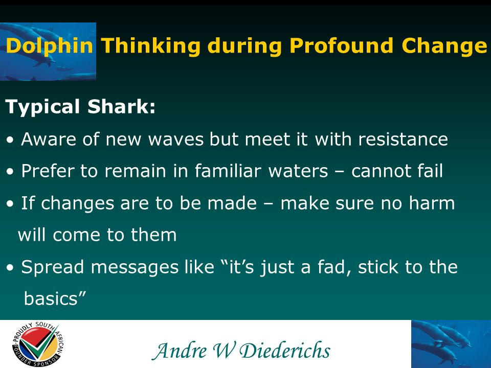 Andre W Andre W Diederichs Dolphin Thinking during Profound Change Typical Carp: Unaware of change Ignorant that existing wave is declining or Ignore that new wave is beginning Refusal to acknowledge that things can change