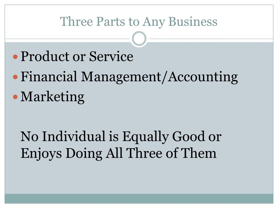 Three Parts to Any Business Product or Service Financial Management/Accounting Marketing No Individual is Equally Good or Enjoys Doing All Three of Them