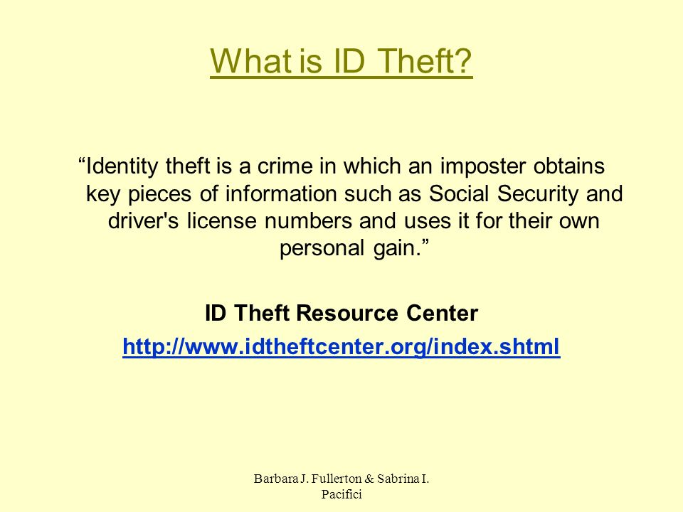 What is ID Theft.