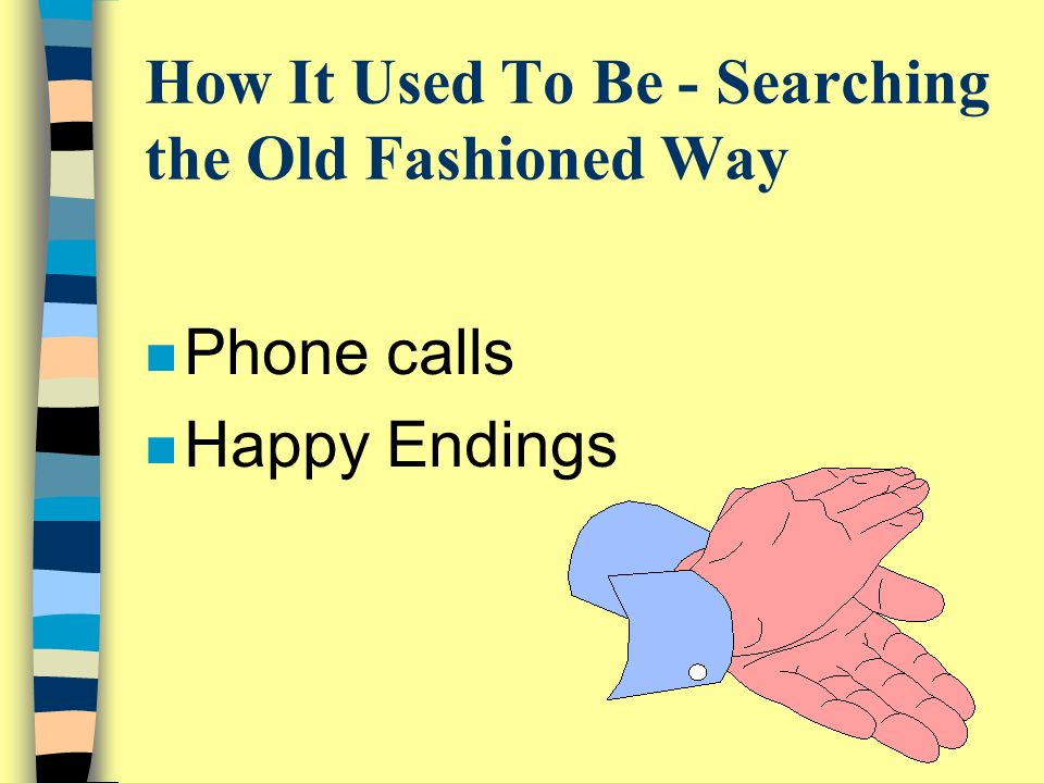 How It Used To Be - Searching the Old Fashioned Way n Phone calls n Happy Endings