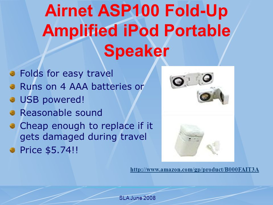 SLA June 2008 Airnet ASP100 Fold-Up Amplified iPod Portable Speaker Folds for easy travel Runs on 4 AAA batteries or USB powered.