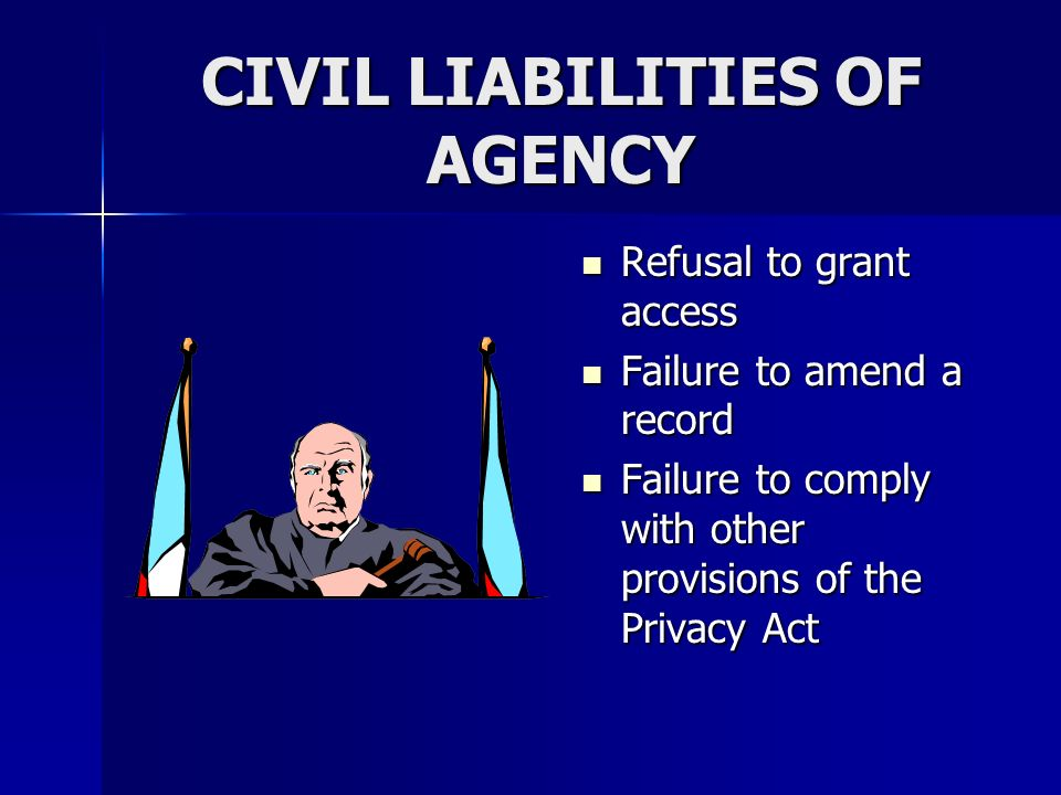 CIVIL LIABILITIES OF AGENCY Refusal to grant access Refusal to grant access Failure to amend a record Failure to amend a record Failure to comply with other provisions of the Privacy Act Failure to comply with other provisions of the Privacy Act