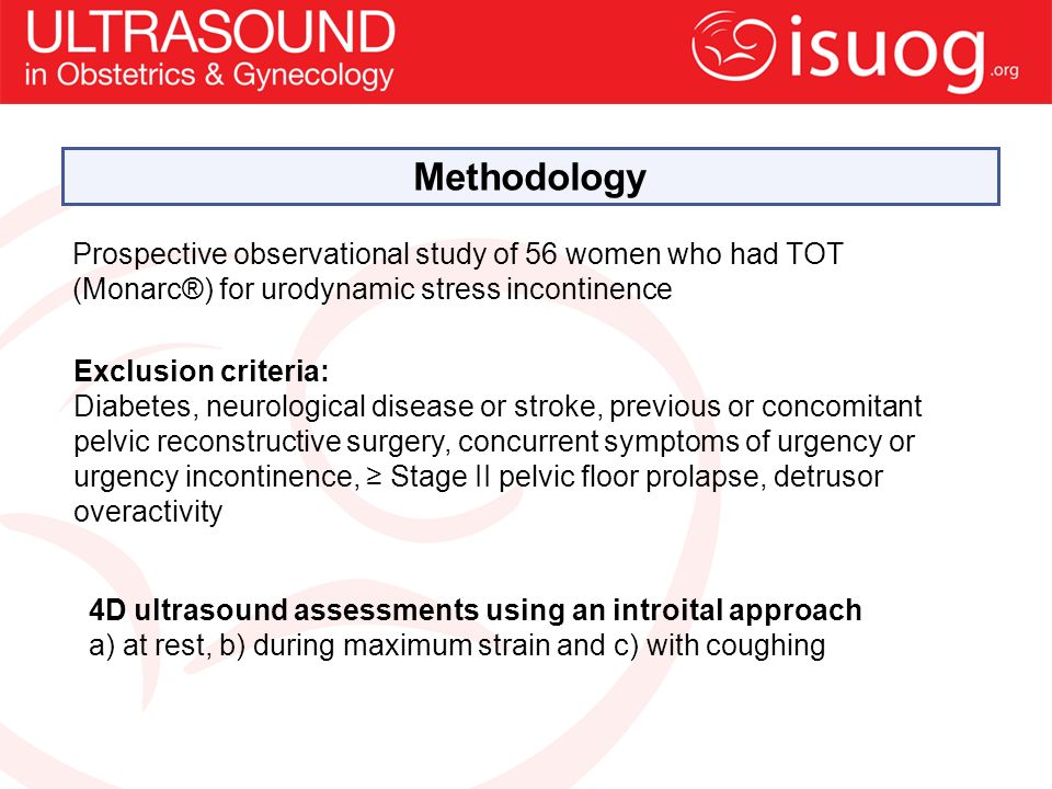 Exclusion criteria: Diabetes, neurological disease or stroke, previous or concomitant pelvic reconstructive surgery, concurrent symptoms of urgency or urgency incontinence, Stage II pelvic floor prolapse, detrusor overactivity 4D ultrasound assessments using an introital approach a) at rest, b) during maximum strain and c) with coughing Prospective observational study of 56 women who had TOT (Monarc®) for urodynamic stress incontinence Methodology