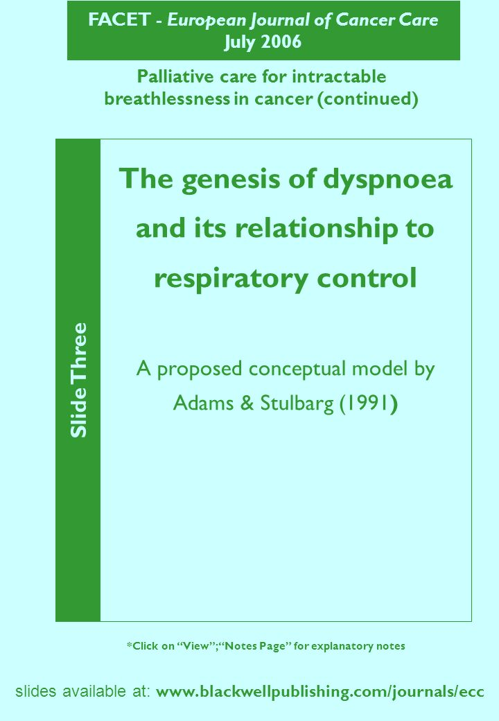 FACET - European Journal of Cancer Care July 2006 slides available at:   Slide Three *Click on View; Notes Page for explanatory notes The genesis of dyspnoea and its relationship to respiratory control A proposed conceptual model by Adams & Stulbarg (1991) Palliative care for intractable breathlessness in cancer (continued)