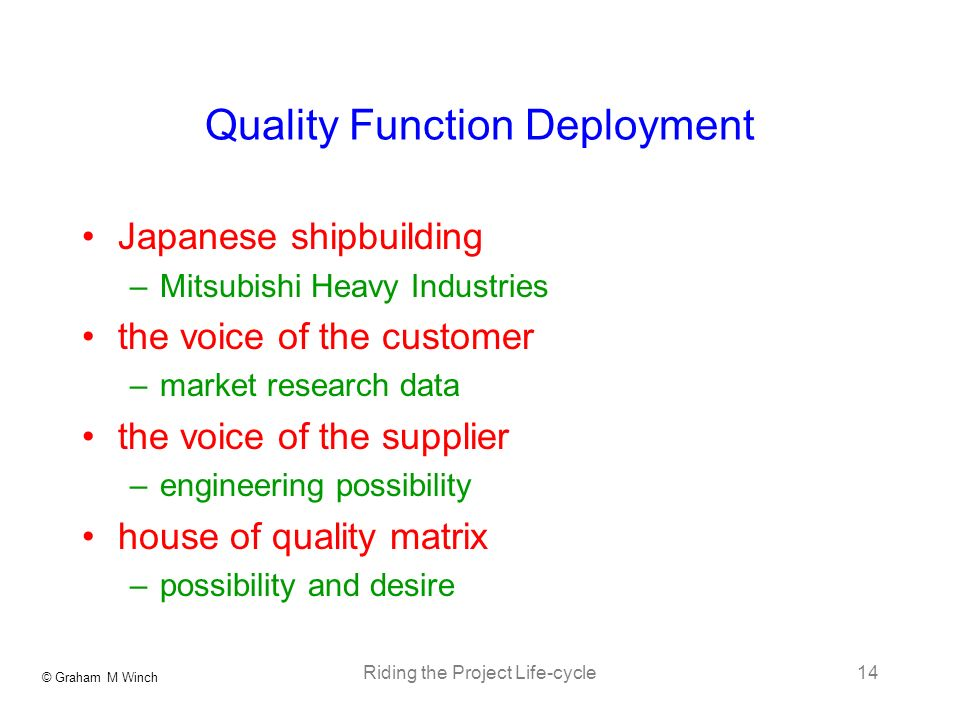© Graham M Winch Riding the Project Life-cycle14 Quality Function Deployment Japanese shipbuilding –Mitsubishi Heavy Industries the voice of the customer –market research data the voice of the supplier –engineering possibility house of quality matrix –possibility and desire
