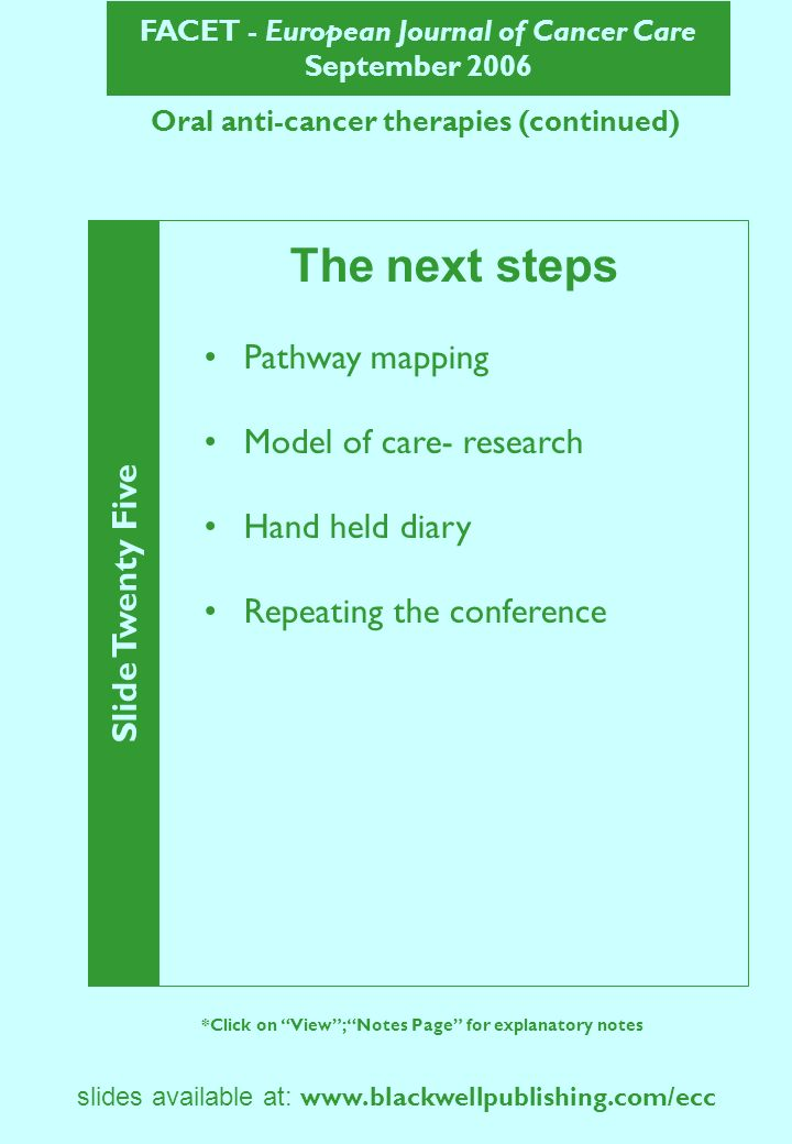 FACET - European Journal of Cancer Care September 2006 Slide Twenty Five *Click on View; Notes Page for explanatory notes slides available at:   Oral anti-cancer therapies (continued) The next steps Pathway mapping Model of care- research Hand held diary Repeating the conference