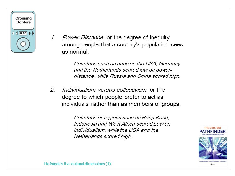 1.Power-Distance, or the degree of inequity among people that a countrys population sees as normal.