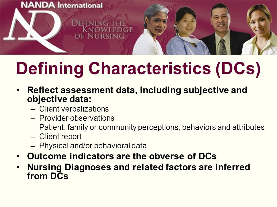 Defining Characteristics (DCs) Reflect assessment data, including subjective and objective data: –Client verbalizations –Provider observations –Patient, family or community perceptions, behaviors and attributes –Client report –Physical and/or behavioral data Outcome indicators are the obverse of DCs Nursing Diagnoses and related factors are inferred from DCs