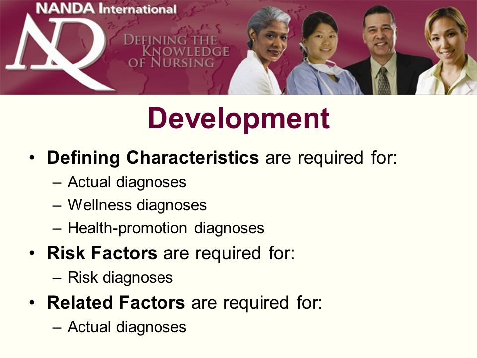 Development Defining Characteristics are required for: –Actual diagnoses –Wellness diagnoses –Health-promotion diagnoses Risk Factors are required for: –Risk diagnoses Related Factors are required for: –Actual diagnoses