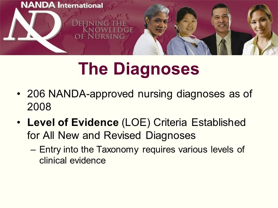 The Diagnoses 206 NANDA-approved nursing diagnoses as of 2008 Level of Evidence (LOE) Criteria Established for All New and Revised Diagnoses –Entry into the Taxonomy requires various levels of clinical evidence