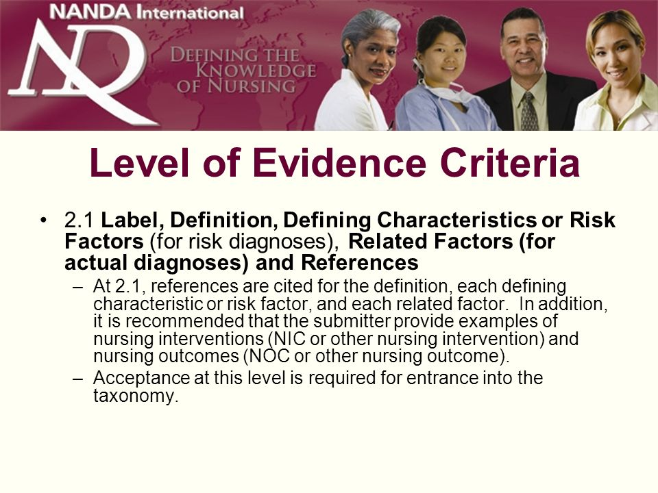Level of Evidence Criteria 2.1 Label, Definition, Defining Characteristics or Risk Factors (for risk diagnoses), Related Factors (for actual diagnoses) and References –At 2.1, references are cited for the definition, each defining characteristic or risk factor, and each related factor.