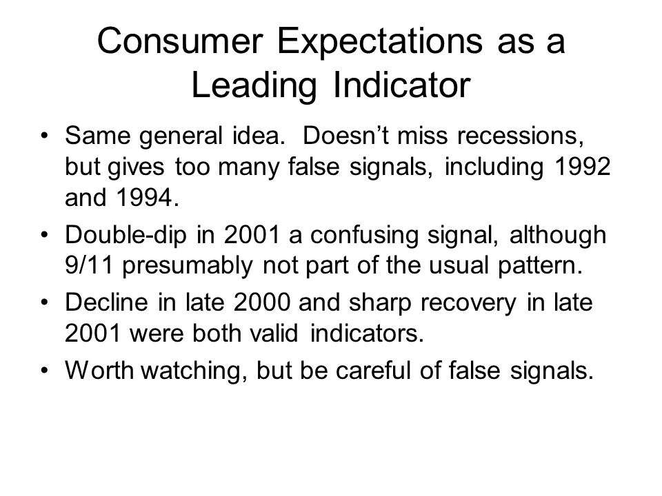Consumer Expectations as a Leading Indicator Same general idea.