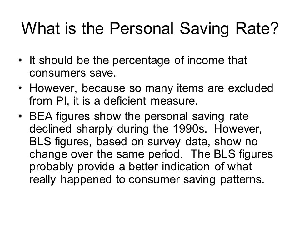 What is the Personal Saving Rate. It should be the percentage of income that consumers save.