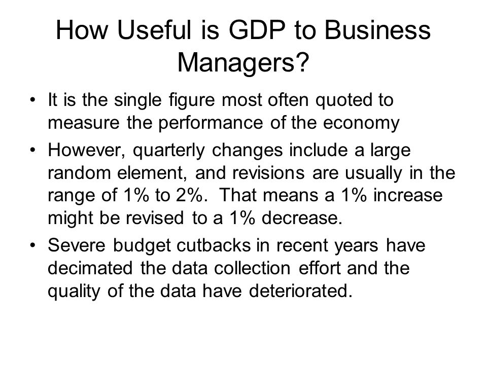 How Useful is GDP to Business Managers.