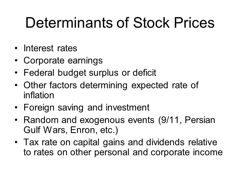 Determinants of Stock Prices Interest rates Corporate earnings Federal budget surplus or deficit Other factors determining expected rate of inflation Foreign saving and investment Random and exogenous events (9/11, Persian Gulf Wars, Enron, etc.) Tax rate on capital gains and dividends relative to rates on other personal and corporate income