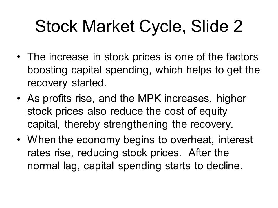 Stock Market Cycle, Slide 2 The increase in stock prices is one of the factors boosting capital spending, which helps to get the recovery started.