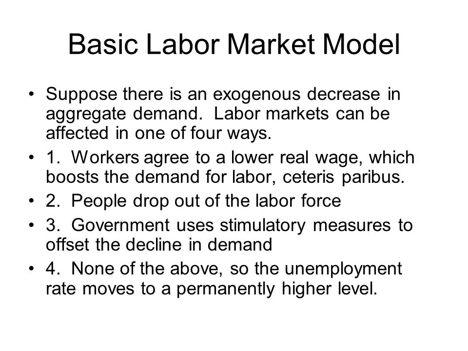 Basic Labor Market Model Suppose there is an exogenous decrease in aggregate demand.