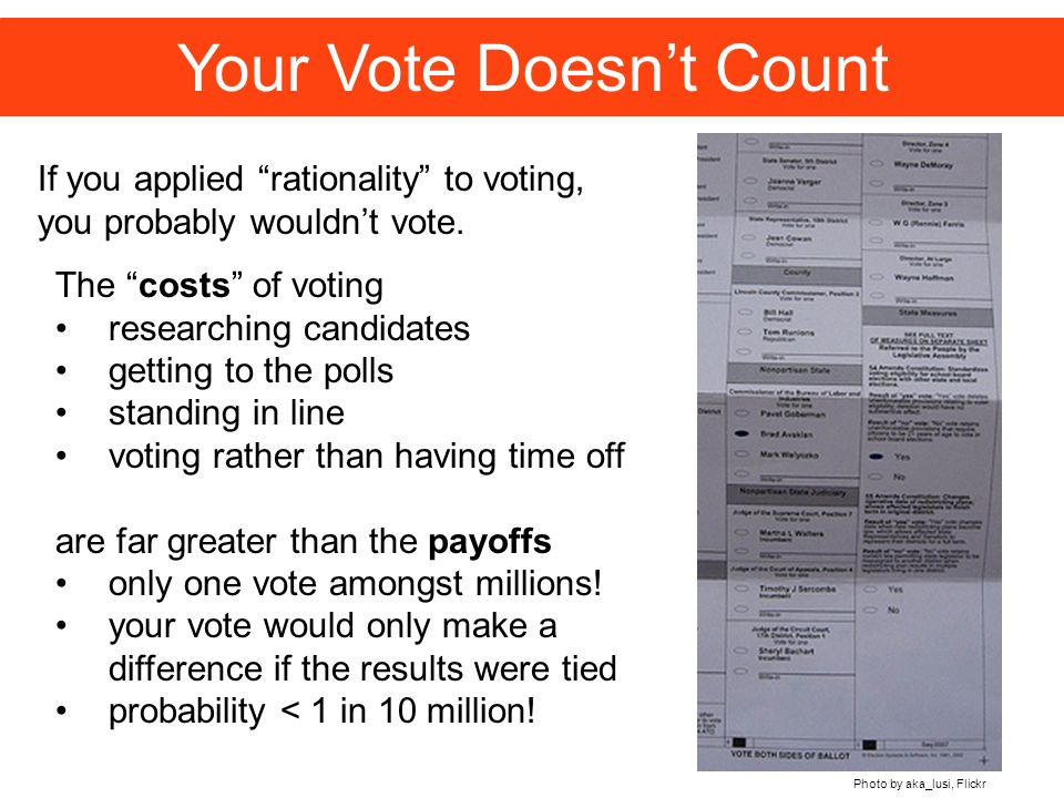 Your Vote Doesnt Count If you applied rationality to voting, you probably wouldnt vote.
