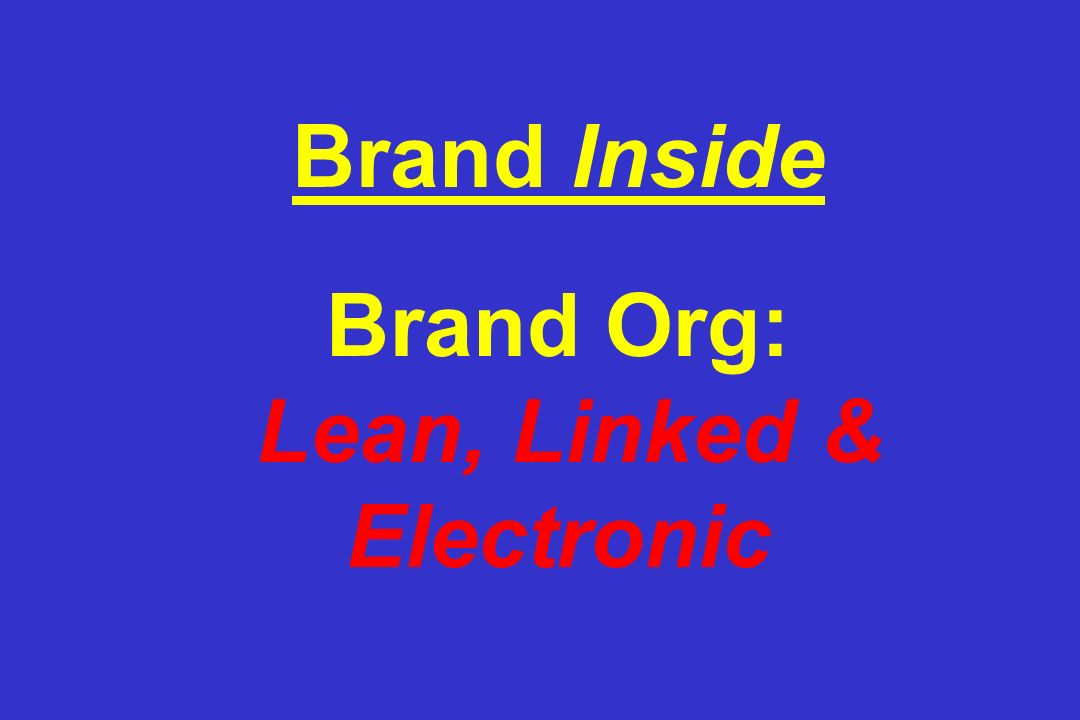 Brand Inside Brand Org: Lean, Linked & Electronic