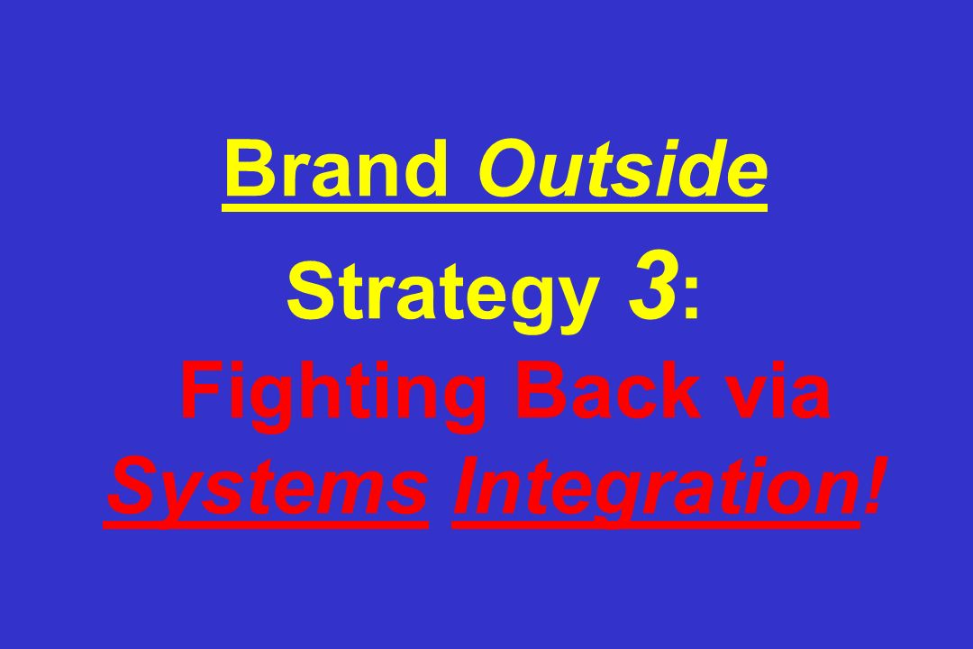 Brand Outside Strategy 3 : Fighting Back via Systems Integration!
