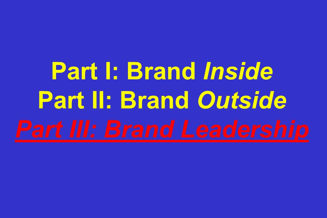 Part I: Brand Inside Part II: Brand Outside Part III: Brand Leadership