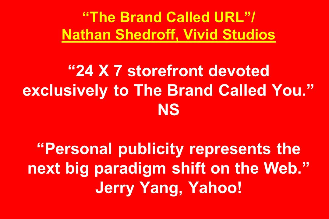 The Brand Called URL/ Nathan Shedroff, Vivid Studios 24 X 7 storefront devoted exclusively to The Brand Called You.