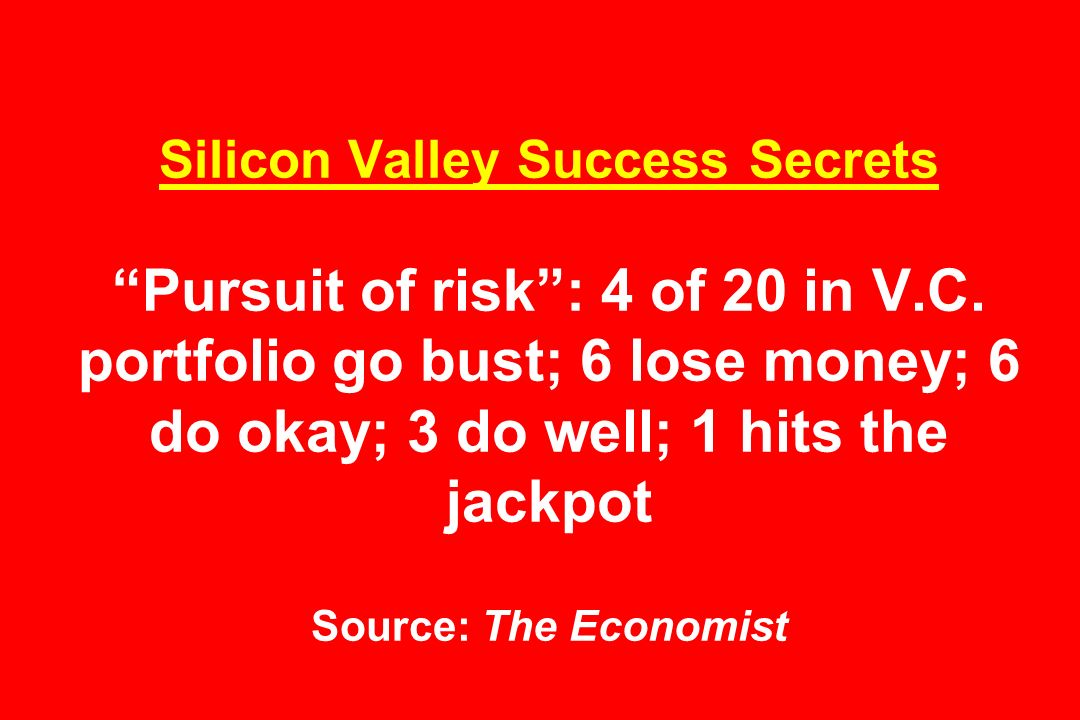 Silicon Valley Success Secrets Pursuit of risk: 4 of 20 in V.C.