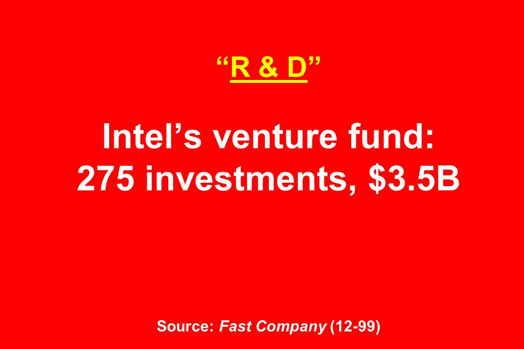 R & D Intels venture fund: 275 investments, $3.5B Source: Fast Company (12-99)