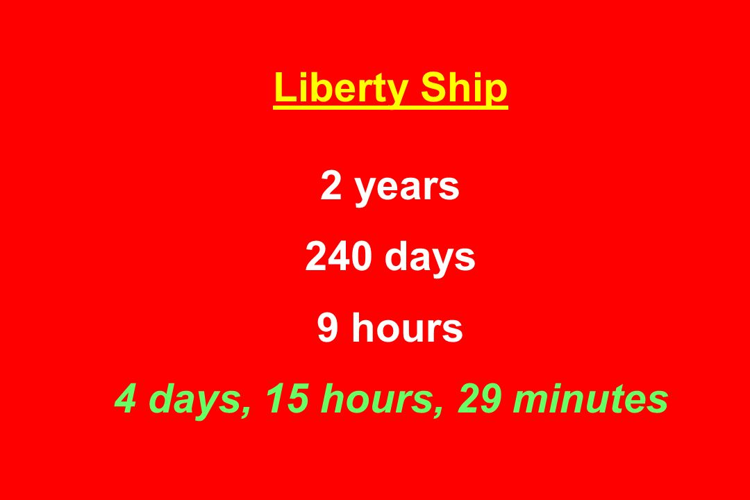Liberty Ship 2 years 240 days 9 hours 4 days, 15 hours, 29 minutes