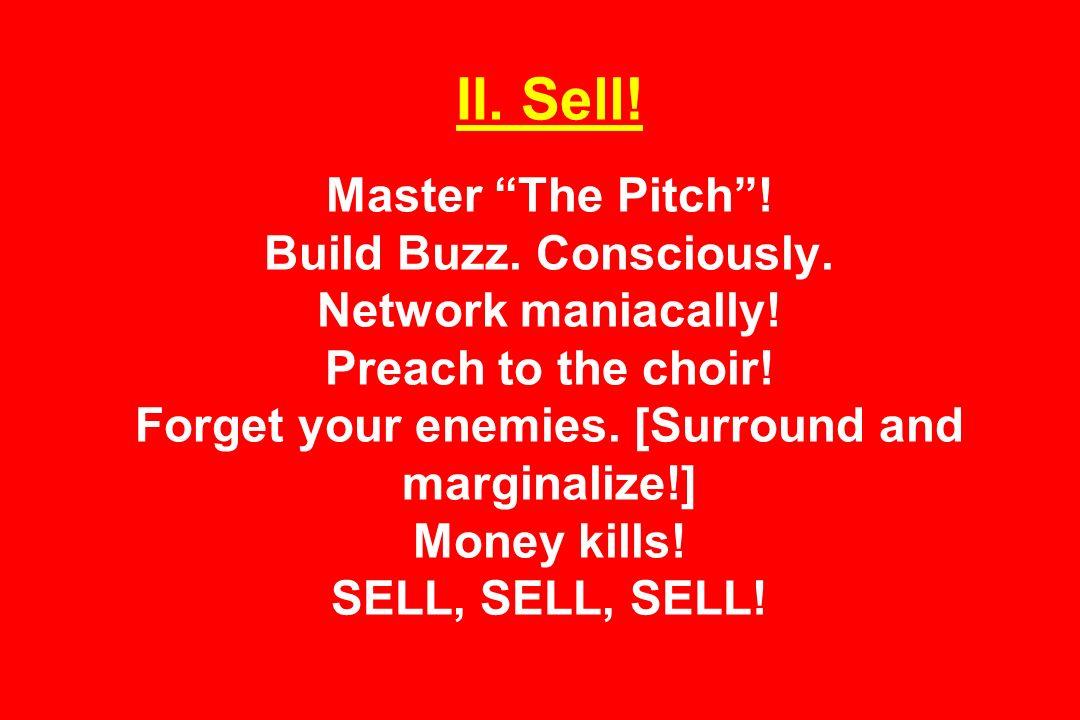 II. Sell. Master The Pitch. Build Buzz. Consciously.