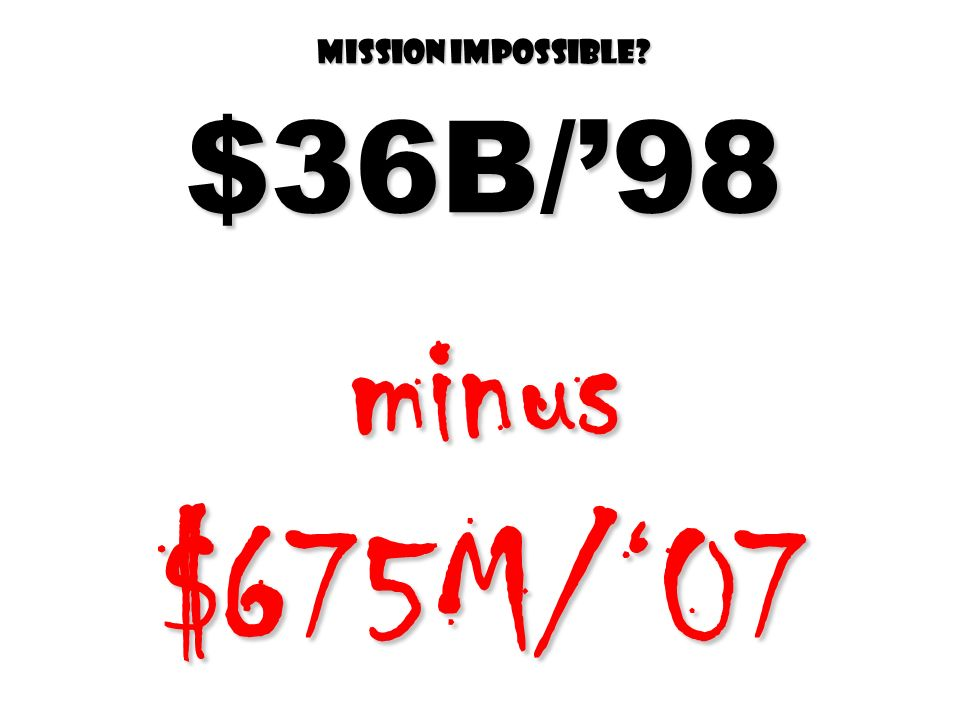 Mission impossible $36B/98 minus $675M/07
