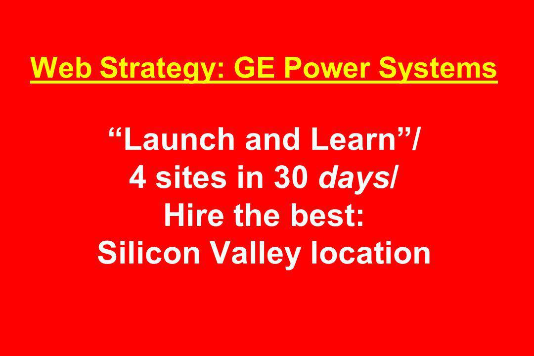 Web Strategy: GE Power Systems Launch and Learn/ 4 sites in 30 days/ Hire the best: Silicon Valley location