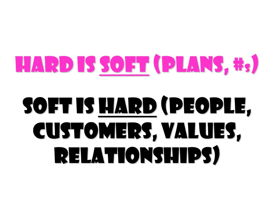 Hard Is Soft (Plans, # s ) Soft Is Hard (people, customers, values, relationships)