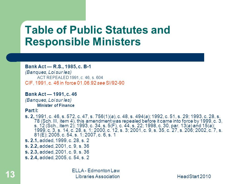 ELLA - Edmonton Law Libraries AssociationHeadStart Table of Public Statutes and Responsible Ministers Bank Act R.S., 1985, c.