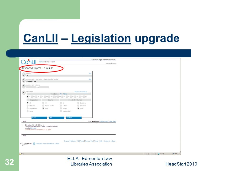 ELLA - Edmonton Law Libraries AssociationHeadStart CanLIICanLII – Legislation upgradeLegislation