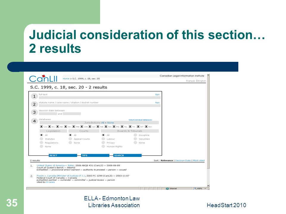 ELLA - Edmonton Law Libraries AssociationHeadStart Judicial consideration of this section… 2 results