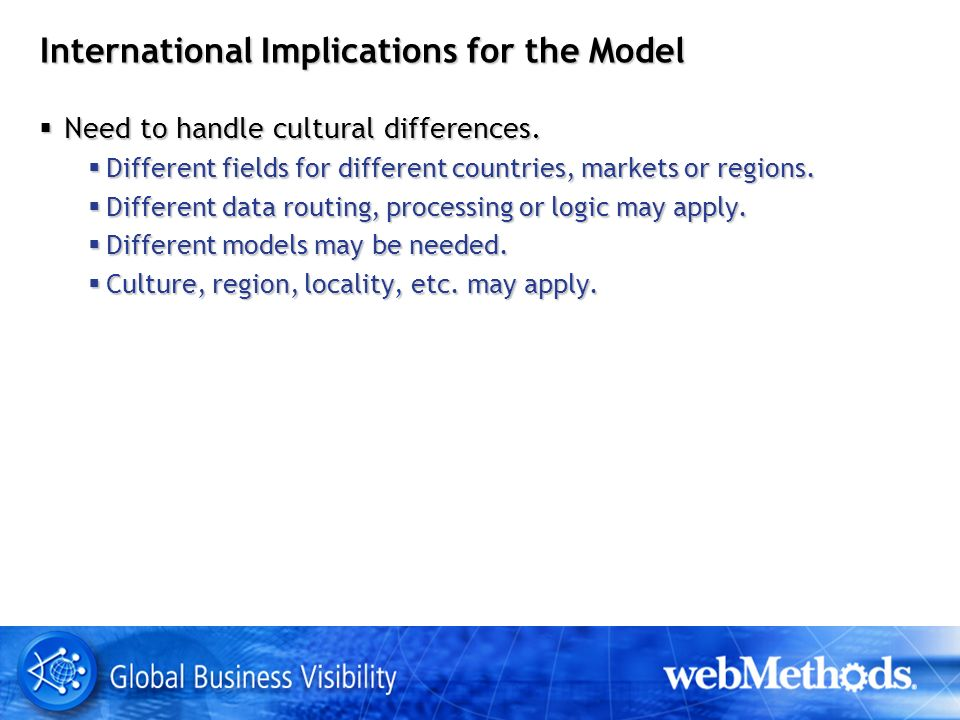 International Implications for the Model Need to handle cultural differences.