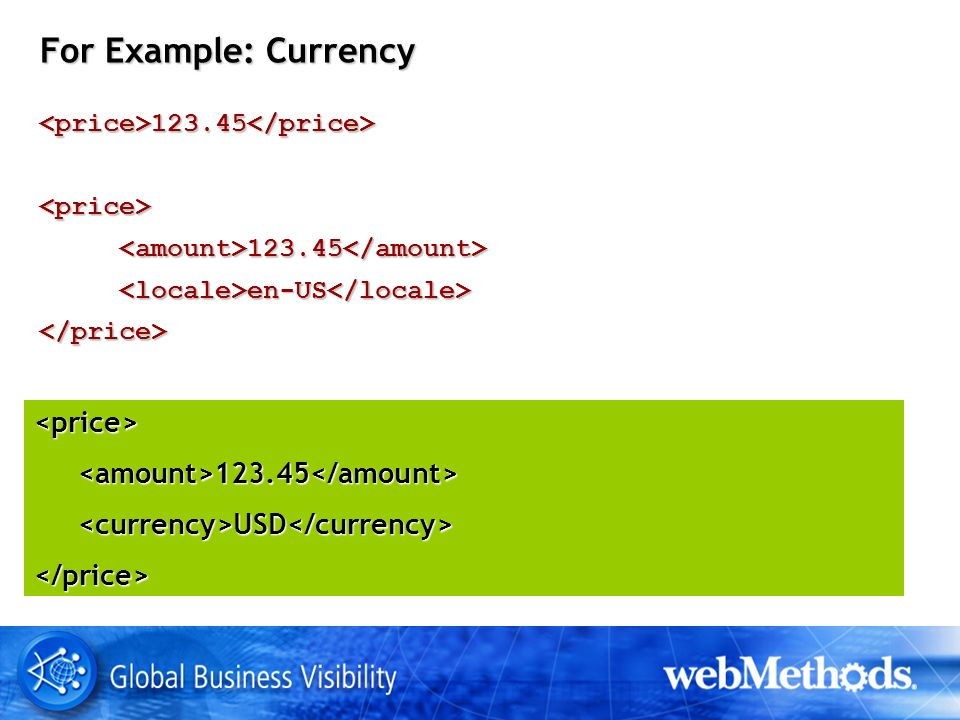 For Example: Currency <price>123.45</price><price> en-US en-US </price> <price> USD USD </price>