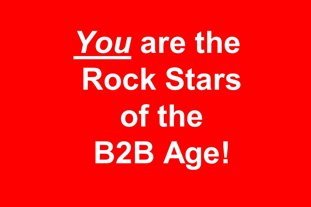 You are the Rock Stars of the B2B Age!