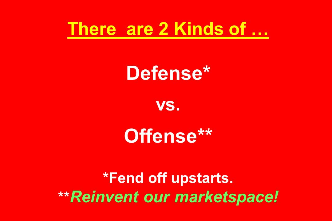 There are 2 Kinds of … Defense* vs. Offense** *Fend off upstarts. ** Reinvent our marketspace!