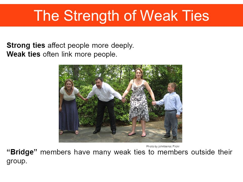 The Strength of Weak Ties Strong ties affect people more deeply.