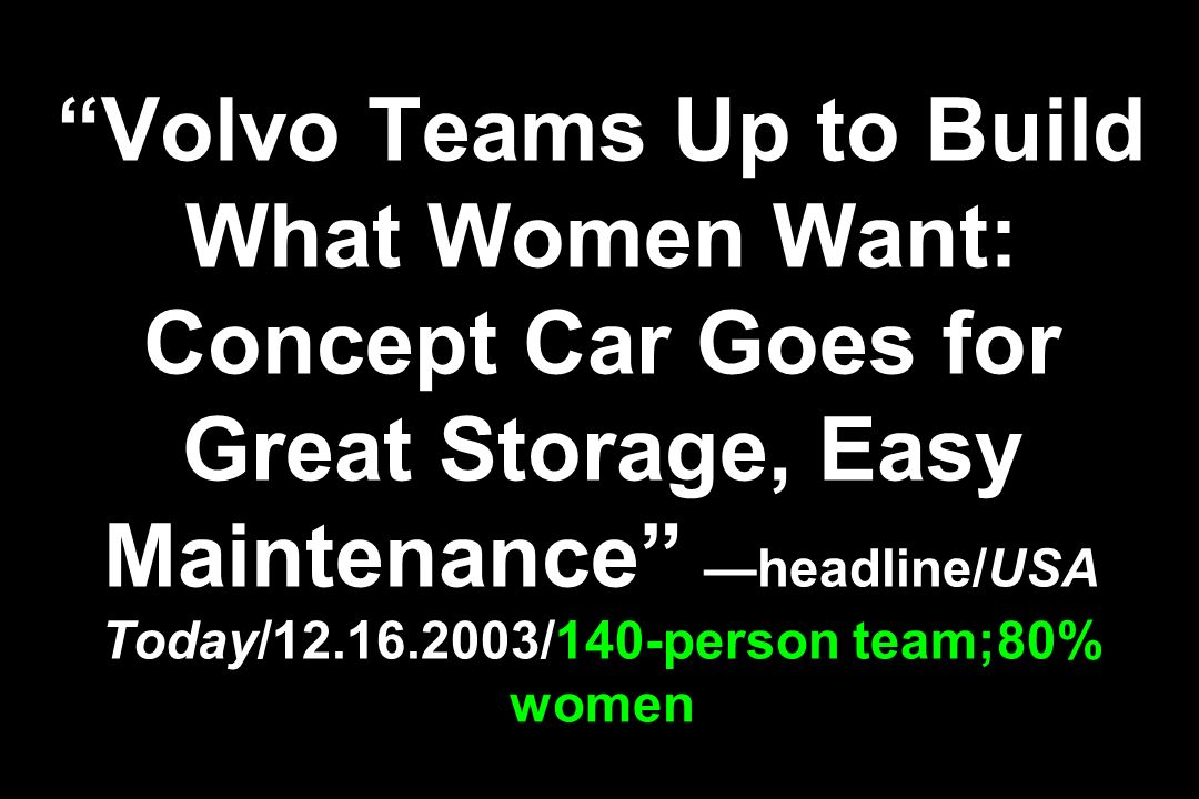Volvo Teams Up to Build What Women Want: Concept Car Goes for Great Storage, Easy Maintenance headline/USA Today/ /140-person team;80% women